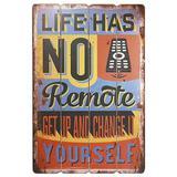 Placa Decorativa Quadro Madeira Mart 4406 Life Has no Remote