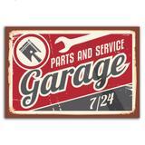 Placa Decorativa Vintage Carros Garage 30x40cm - Quartinhos