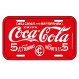 Placa em metal para parede Coca Cola Five Cents Vermelha - Coca-cola
