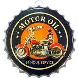 Placa Metal Alto Relevo Tampa Motor Oil - Versare anos dourados
