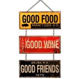 Placa Metal Good Food, Good Wine, Good Friends - Versare anos dourados
