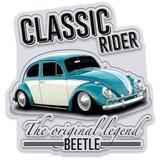 Placa Metal Recorte Volkswagen Fusca Classic Cinza - Versare anos dourados