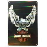 Placa Refletiva 3d De Metal Harley Davidson Aguia - Versare anos dourados