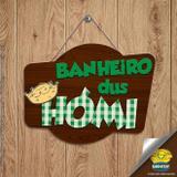 Plaquinha Decorativa Banheiro dos Homens Festa Junina em MDF - 1 unidade - Grintoy - Rizzo Festas