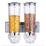 Porta alimentos duplo dispenser de parede para cereais sucrilhos granola cozinha 2 potes luxo - Makeda