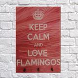 Porta Chaves C/ 3 Ganchos Flamingo Keep Calm  20X30 - Reduna