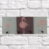 Porta Chaves C/ 4 Ganchos Flamingo Rosa 12X30Cm - Reduna