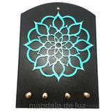 Porta Chaves Mandala Mdf Turquesa - Mandala de luz