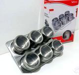 Porta Condimento Magnético Inox  6 Unid - Loja capricho