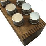 Porta condimentos e temperos de madeira com 10 tubos pet - Container decoração