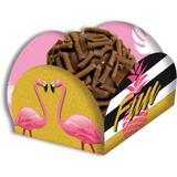 Porta Forminha para Doces Flamingo Gold 40 unidades Festcolor - Festabox