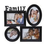 Porta Retrato De Plástico Para 4 Fotos Family Preto Prestige