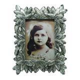 Porta retrato de resina c/ acabamento folhas prateadas - Btc decor