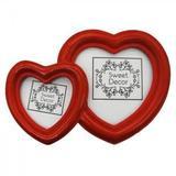 Porta Retrato Dois Corações Vermelho em Resina - Zona livre