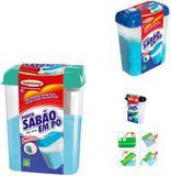 Porta Sabao Em Po De Plastico Com Tampa Colors 1,6Kg 22X9Cm - Injetemp