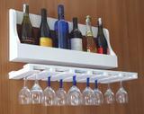 Porta Taças e Prateleira Adega Decorativa para Vinhos Garrafas Bares - Branco Laca - Formalivre