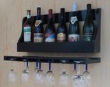 Porta Taças e Prateleira Adega Decorativa para Vinhos Garrafas Bares - Preto Laca - Formalivre