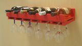 Porta Taças e Prateleira Adega New Suporte Decorativo para Vinhos e Garrafas - Vermelho Laca - Formalivre