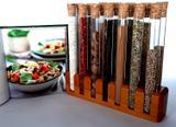 Porta temperos com 14 tubos de vidro - Container decoração