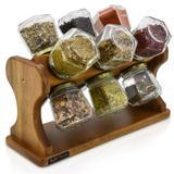 Porta Temperos e Condimentos Giratório em Madeira com 12 Potes de Vidro - Genus móveis