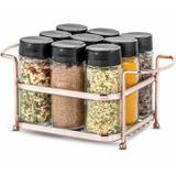 Porta temperos e condimentos rose gold em inox 9 potes em vidro organizador com suporte luxo - Passerini