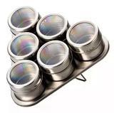 Porta Temperos E Condimentos Triangular Em Aço Inox Com Imã 6 Potes 43164 - Jiaxi oksn