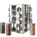 Porta Temperos Inox Com 16 Potes De Vidro Em Base Giratória - Livon