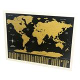 Pôster Mapa Mundi Raspadinha - Preto e Dourado - L3 store