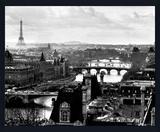 Poster Paris França Torre Eiffel em Preto e Branco sem Vidro 50x40cm - Decore pronto