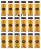Pote Cilindrinho 330ml Temperos Pacote 18 Unidades Tampa Preta - Black - Vetrolar
