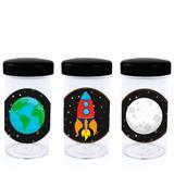 Pote de Acrílico com Tampa Festa Infantil Espacial 70ml 10 unidades - Festabox