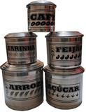 Pote De Latas Mantimentos Escrita Jogo Aluminio Com 5 Peça - Crs