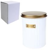 Pote de metal redondo branco para mantimentos biscoito com tampa dourada 2,2litros - Rio de ouro