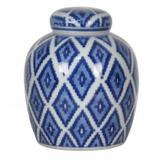Pote de porcelana azul escuro 17cm x 18cm - Btc decor