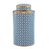 Potiche Decorativo em Cerâmica Geométrico 29,5cmx16cm Mart Collection Azul