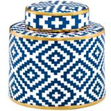 Potiche Decorativo em Cerâmica Losangos 19,5cmx20cm Mart Collection Azul
