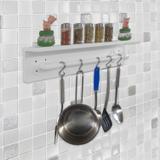 Prateleira para Temperos e Suporte Utensílios e Panelas Cozinha Estilo Industrial Branco Laca - Formalivre
