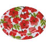Prato de Melamina Raso Oval 45,7cm Flores Vermelhas - Casa  video