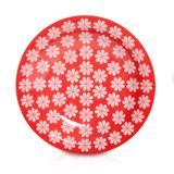 Prato de Porcelana Fundo Decorado Renda Biona Oxford - Vermelho / 23 Cm
