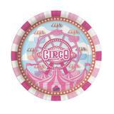Prato Descartável Circo Rosa 08 unidades Festcolor - Festabox