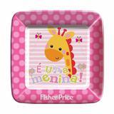 Prato Descartável Quadrado Chá de Bebê Rosa 18 cm 08 unidades Fisher Price Regina Festas