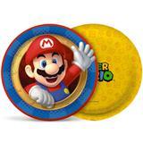 Prato Descartável Super Mario Bros 18cm 08 unidades - Cromus