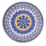 Prato Fundo Floreal La Carreta 23 cm Azul e Amarelo Oxford