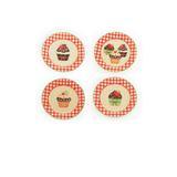Prato pequeno branco com xadrez cupcake: 1319329 Diam. 20,00 JG C/4 UN - Cor: amarela/vermelha - Cromus
