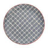Prato raso em cerâmica azul 27,5cm florals Kenya