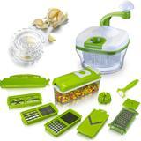 Processador Manual + Nicer Dicer Plus Cortador Fatiador - Kit utensílios cozinha