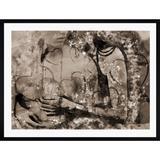 Quadro Abstrato Decor Moldura Preta Abraço Casal 90x70cm - Decore pronto