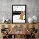 Quadro Abstrato Moderno com Detalhe Amarelo II 65x85cm - Decore pronto