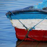 Quadro Azul Branco Vermelho por Vicky Fernandez - Cuadrado