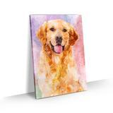 Quadro Cachorro Labrador Colorido Arte Aquarela Tela 60x40 - Bimper